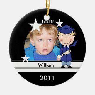 Blond Boy Graduate Customized Photo Keepsake Ceramic Ornament