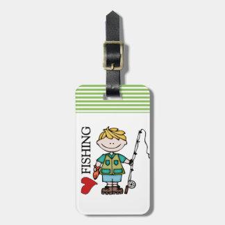 Blond Boy I Love Fishing Bag Tag