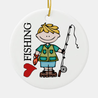 Blond Boy I Love Fishing Round Ceramic Ornament