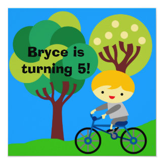 Blond Boy on Bicycle Birthday Invitation