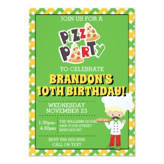 Blond Boy Pizza Party Birthday Invitation