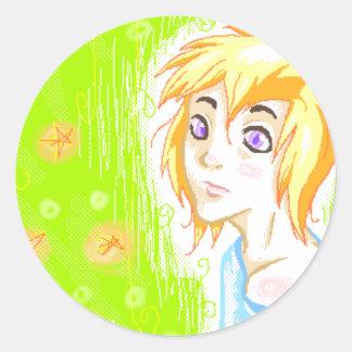 Blond Boy Round Sticker