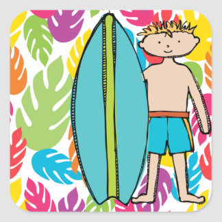 Blond Boy Surfer Stickers
