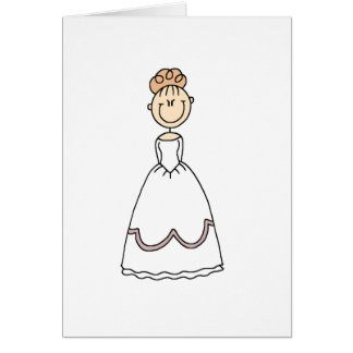 Blond Bride Stick Figure Card