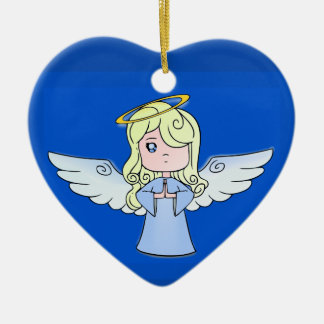 Blond Cartoon Angel Ceramic Heart Ornament