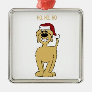blond Doodle Santa Metal Ornament