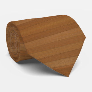 Blond Faux Wood Planks Pattern Gold Accents Tie