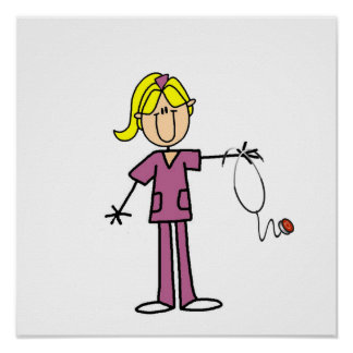 Blond Female Stick Figure Nurse Poster