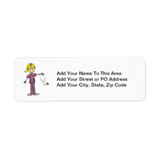 Blond Female Stick Figure Nurse Return Address Label