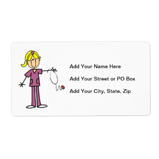 Blond Female Stick Figure Nurse Shipping Label