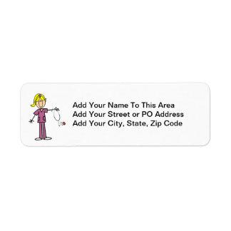 Blond Female Stick Figure Nurse T-shirts Return Address Label