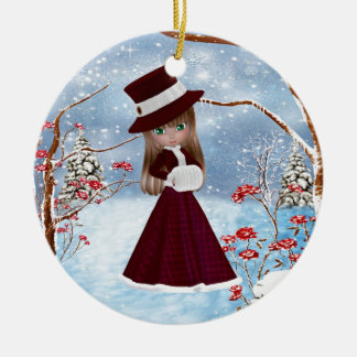Blond Girl, Christmas, Snow Ceramic Ornament