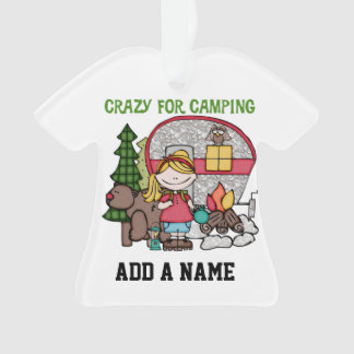 Blond Girl Crazy For Camping Ornament