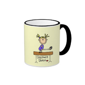 Blond Girl Gymnast on Beam Tshirts and Gifts Ringer Mug