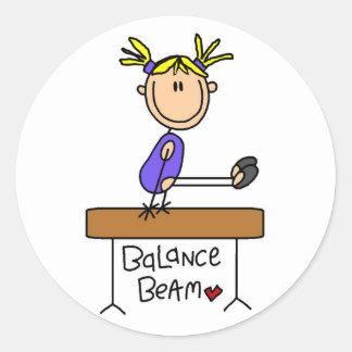 Blond Girl Gymnast on Beam Tshirts and Gifts Round Sticker