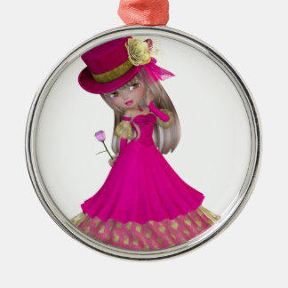 Blond Girl Holding a Pink Rose Silver-Colored Round Ornament