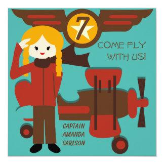 Blond Girl Pilot Birthday Invitations