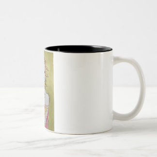 Blond girl with two cats Two-Tone coffee mug