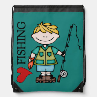 Blond Hair Boy I Love Fishing Drawstring Bag