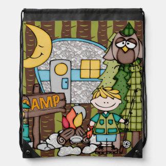 Blond Hair Boy's Camping Adventure Drawstring Bag