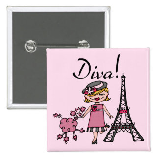 Blond Hair Diva 2 Inch Square Button