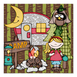 Blond Hair Girl Camping Birthday Invitations