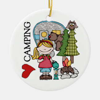 Blond Hair Girl I Love Camping Ceramic Ornament