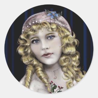Blond Head  Victorian Girl Classic Round Sticker