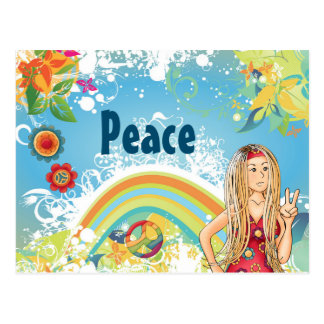 Blond Hippie Girl, Flowers and Rainbow Peace Postcard