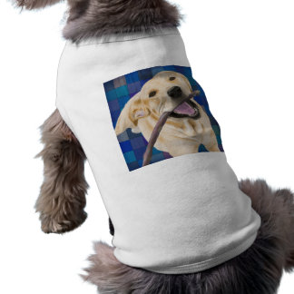 Blond Labrador Smiling with Joy, Chewing a Stick Doggie Tshirt