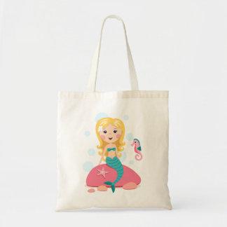 Blond mermaid cartoon girl with starfish seahorse canvas bag