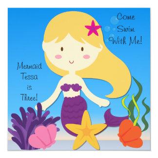 Blond  Mermaid Custom Birthday Invitation