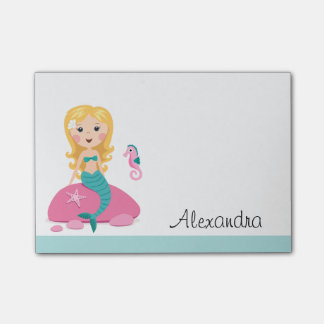 Blond mermaid with seahorse personalized name post-it notes