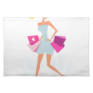 Blond model girl with dots and pink placemat