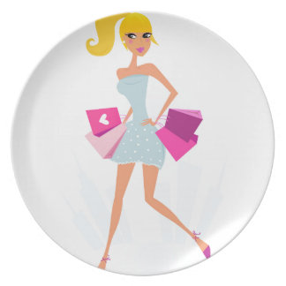 Blond model girl with dots and pink plate