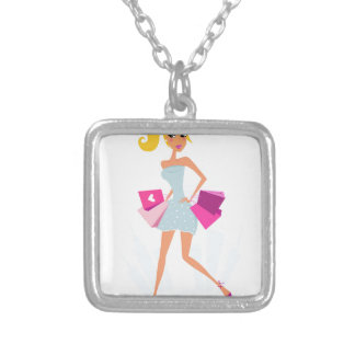 Blond model girl with dots and pink silver plated necklace