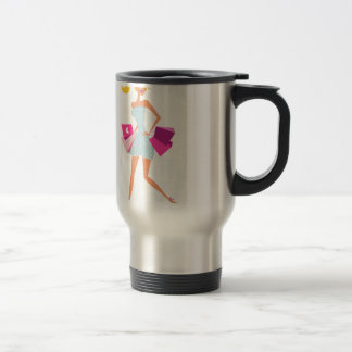 Blond model girl with dots and pink travel mug