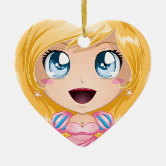 Blond Princess In Pink Dress Ceramic Heart Ornament