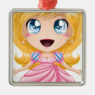 Blond Princess In Pink Dress Silver-Colored Square Ornament