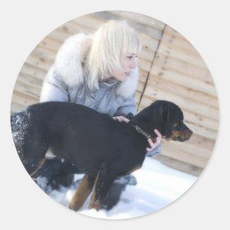 Blond & Puppy Round Sticker