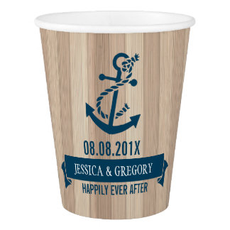 Blond Wood Texture Navy-Blue Nautical Boat Anchor Paper Cup