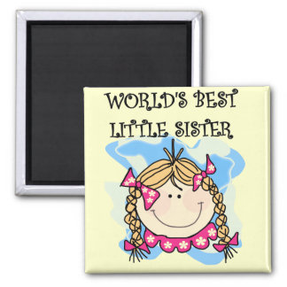 Blond World's Best Little Sister Tshirts Square Magnet