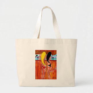 Blonde and Brunette at Tiki Bar Large Tote Bag