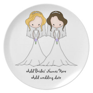 Blonde and Brunette Cartoon Brides Lesbian Wedding Plate