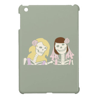 Blonde and Brunette Female Skeleton Couple iPad Mini Covers
