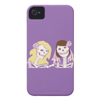 Blonde and Brunette Female Skeleton Couple iPhone 4 Covers