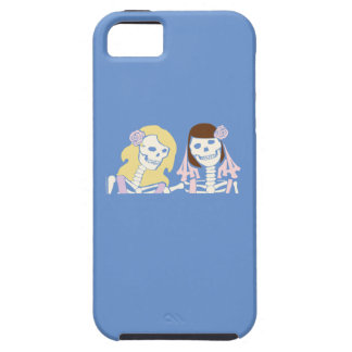 Blonde and Brunette Female Skeleton Couple iPhone 5 Cases