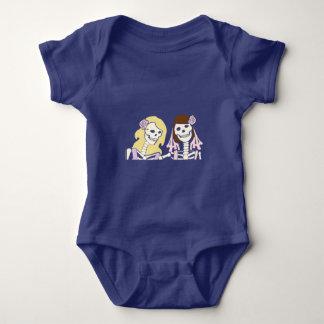 Blonde and Brunette Female Skeleton Couple Shirts