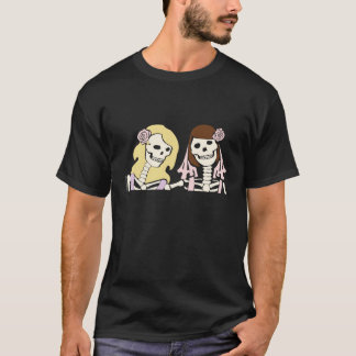 Blonde and Brunette Female Skeleton Couple T-Shirt