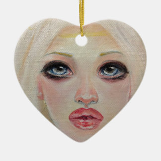 Blonde angel ceramic heart ornament